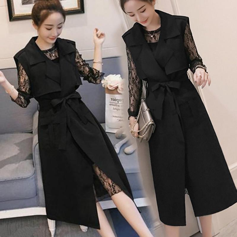 微胖妹妹大码遮肉减龄蕾丝连衣裙套装chic小黑裙马甲中长款200斤