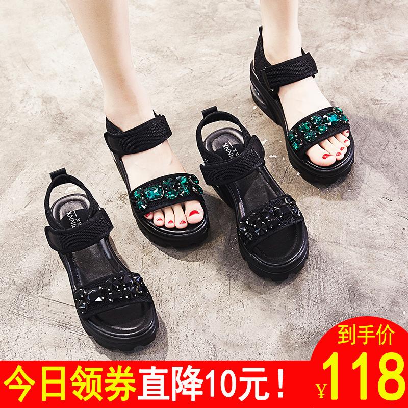 港味凉鞋女chic风韩版百搭夏水钻2018新款高跟罗马松糕鞋厚底坡跟