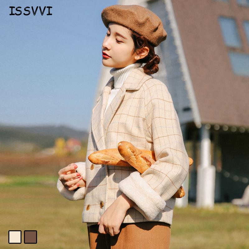 格子毛呢外套2018新款秋冬季女装韩版短款矮小个