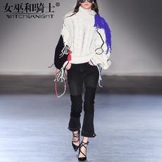 女巫2017冬季新款欧美高领针织衫女宽松套头阔腿时髦套装两件套潮