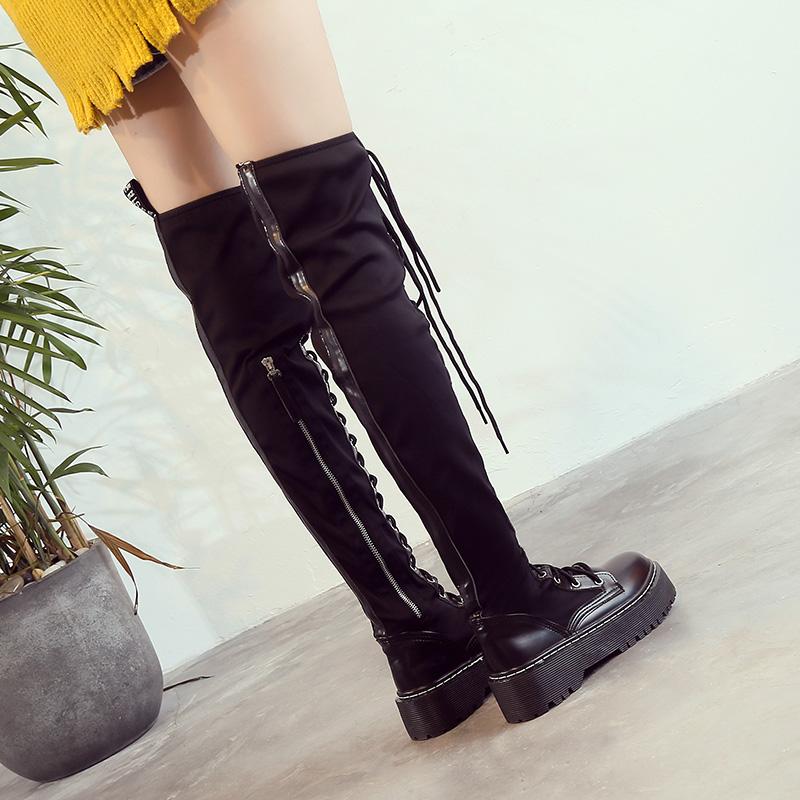 欧洲站女鞋秋冬季新款系带厚底过膝长靴女弹力瘦腿靴松糕底高筒靴