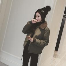 2017韩版冬季新款仿羊羔毛翻领短款棉衣外套女面包服棉袄加厚棉服