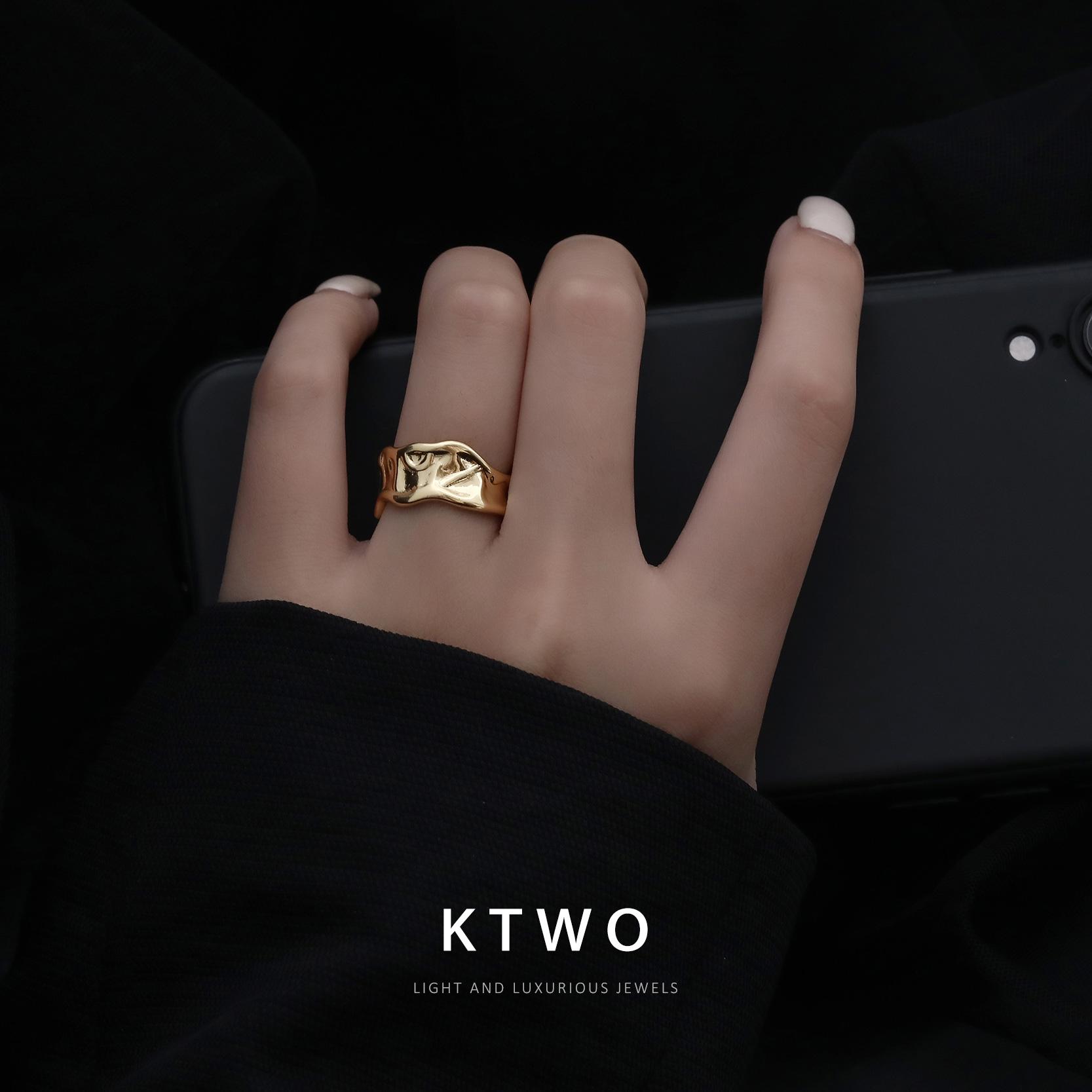 冷淡风ins个性感潮可调节包K金色宽戒指女网红小众食指环简约时尚