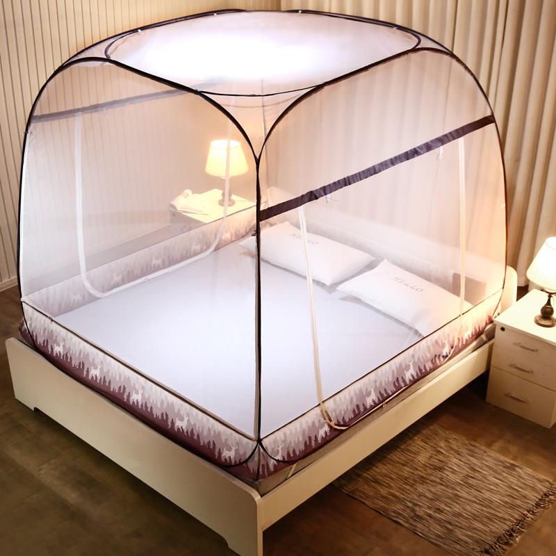 免安装蒙古包蚊帐三开门家用1.8m1.5床2米学生宿舍上下铺床帘一体