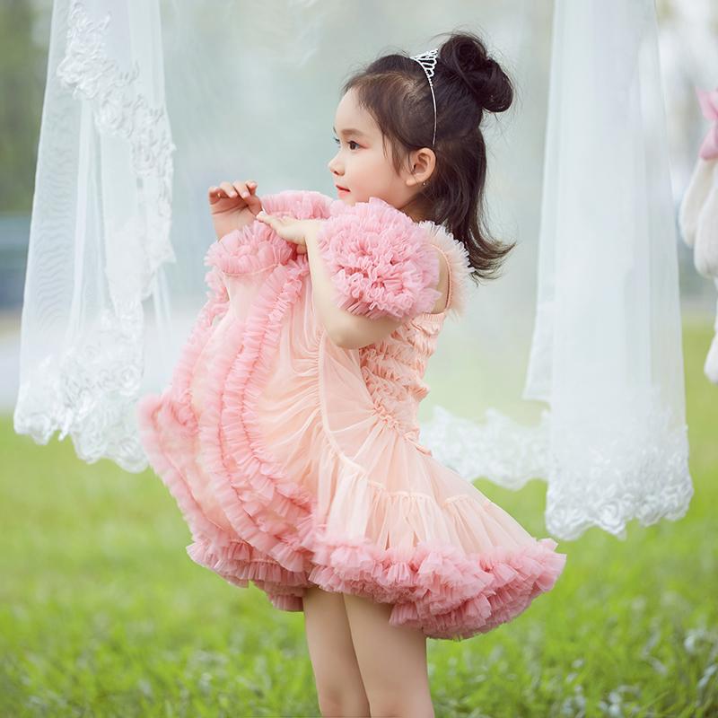 女童春夏周岁礼服花童蓬蓬裙tutu儿童连衣裙吊带宝宝公主网纱表演