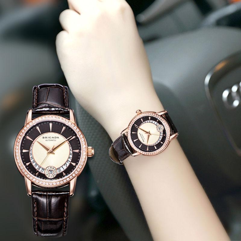 宝茄达正品女士手表女机械表镶钻经典时尚名牌防水真皮女款手表