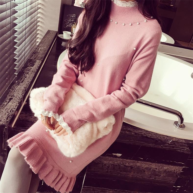 早秋女装长款针织衫连衣裙长袖圆领毛衣打底裙韩版收腰连衣裙