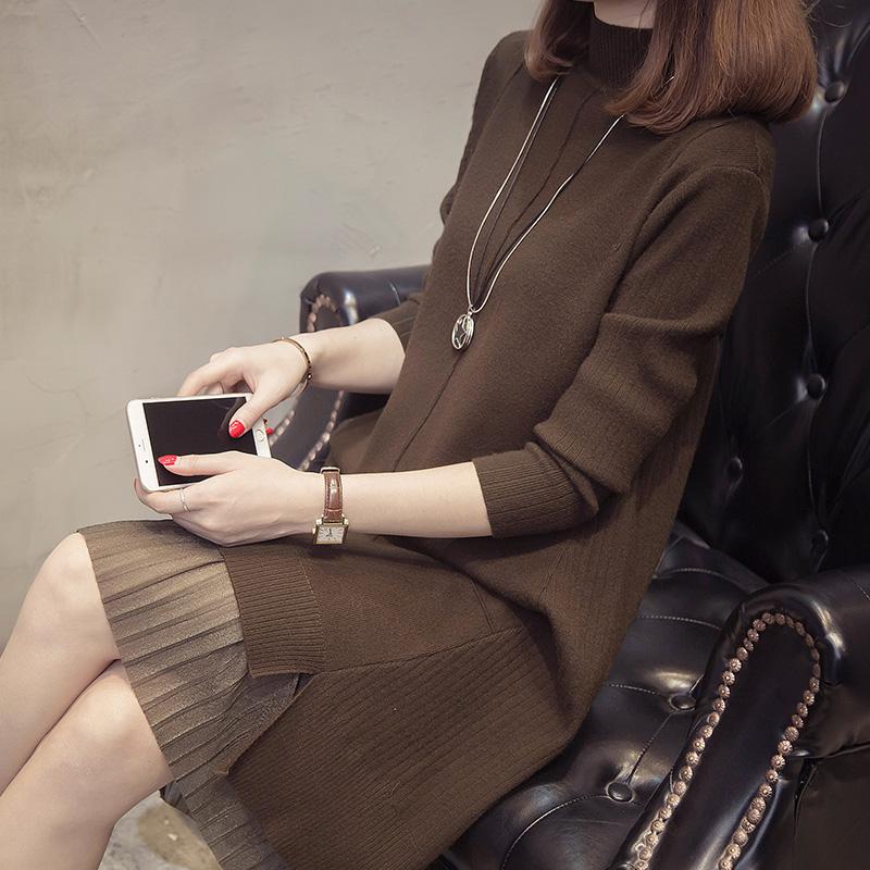 半高领毛衣女秋冬中长款打底2017新款韩版女装套头过膝加厚针织衫