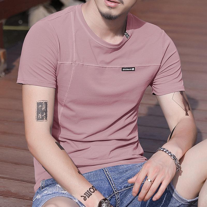 夏季新品T恤 男士纯色欧美风全棉潮流半袖桖修身衣服男装圆领短袖