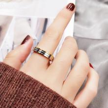 韩款三色彩金戒指男女式情侣对mo11百搭钛sa金食指环戒子饰品
