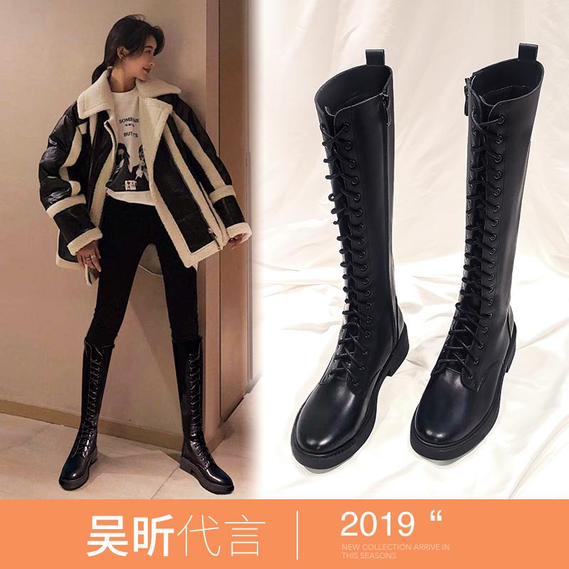 长筒靴女2019新款秋款系带高筒马丁女靴不过膝长靴小个子骑士靴子