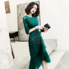 2021新式主持yo5奢(小)众高ng质绿色(小)晚礼服连衣裙女平时可穿