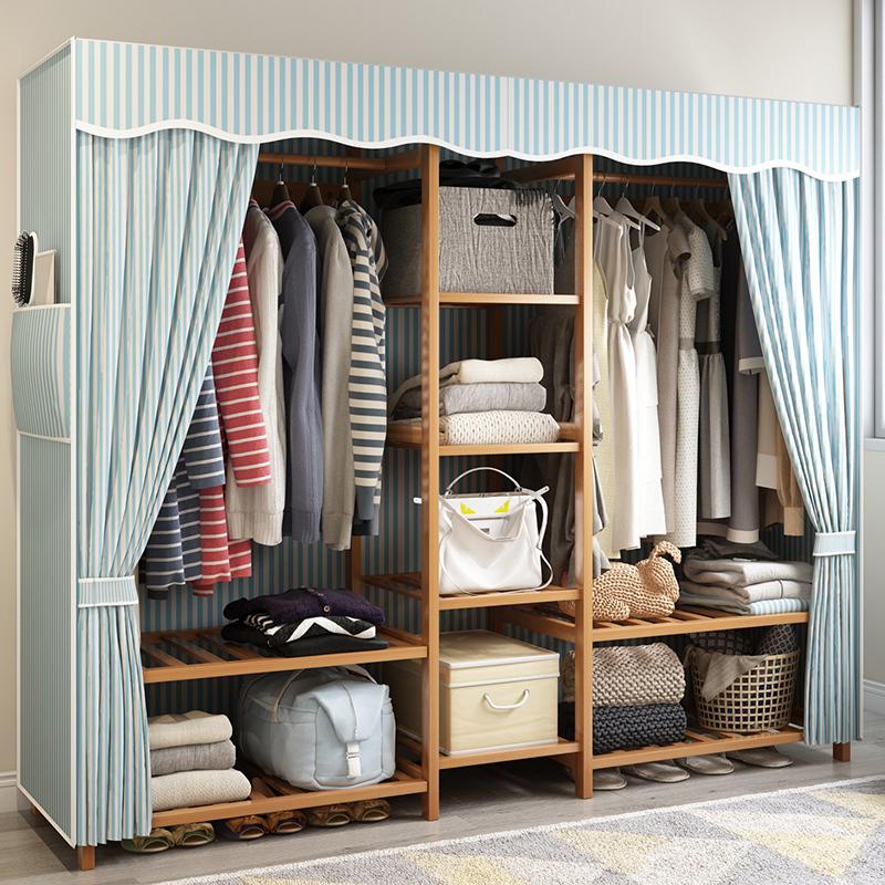 衣柜简约现代经济型组装可拆卸简易大布衣柜实木家用牛津布衣橱