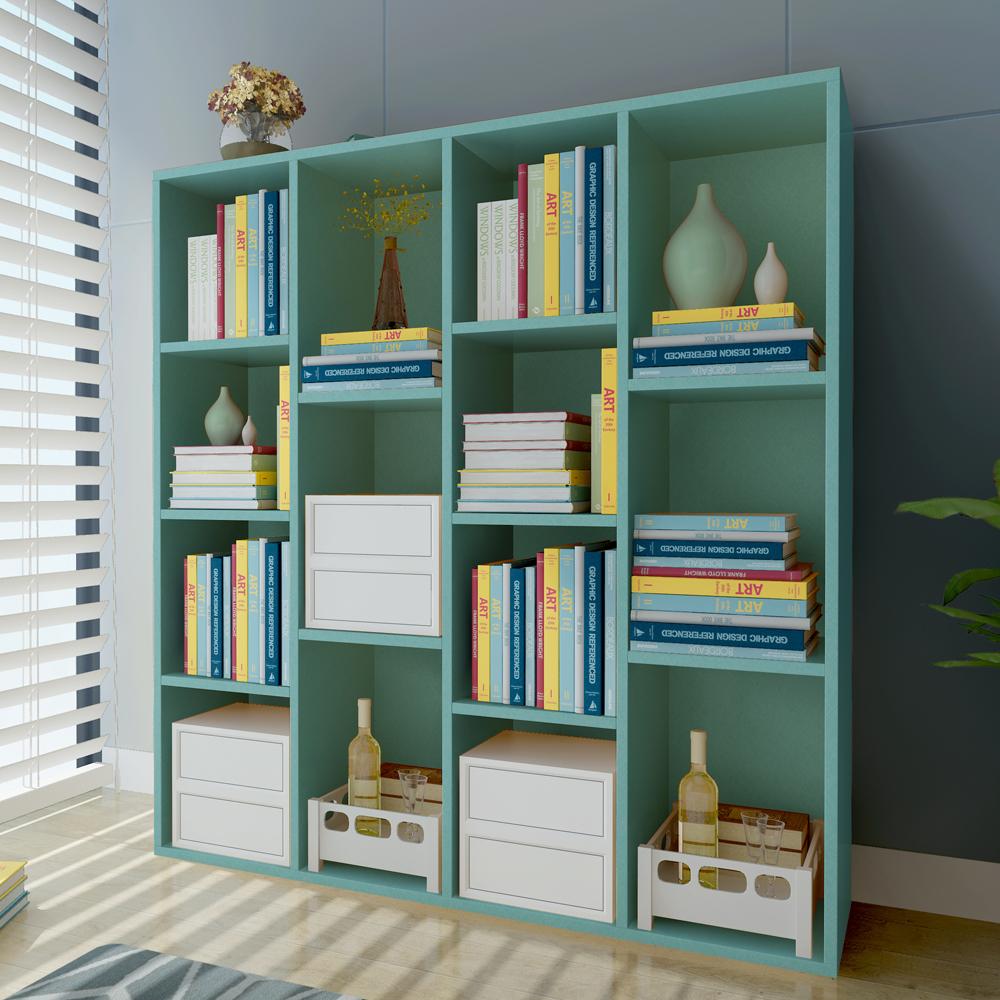 书架书柜简约现代置物架落地柜子学生创意格子柜自由组合书柜书架