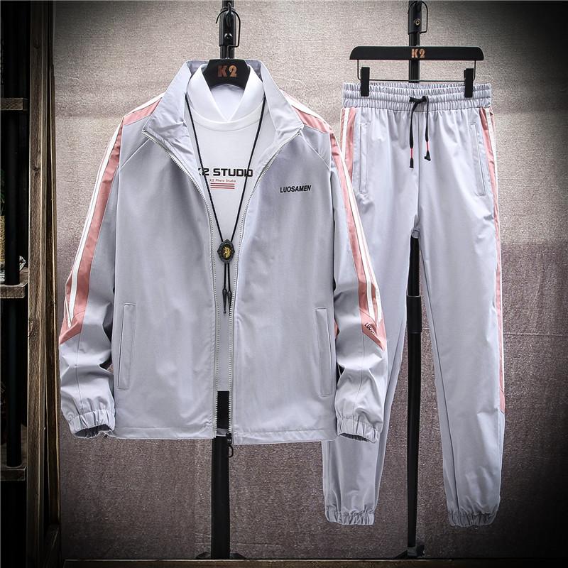 外套男春季夹克韩版潮流男装帅气套装学生衣服-TZ601-P75挂拍