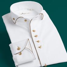 复古温莎领白883衫男士长1g士修身英伦宫廷礼服衬衣法款立领