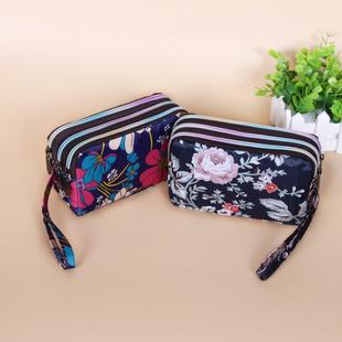 零钱包女长款帆布手拿包简约三层拉链手包女士小包大容量手机包袋图片