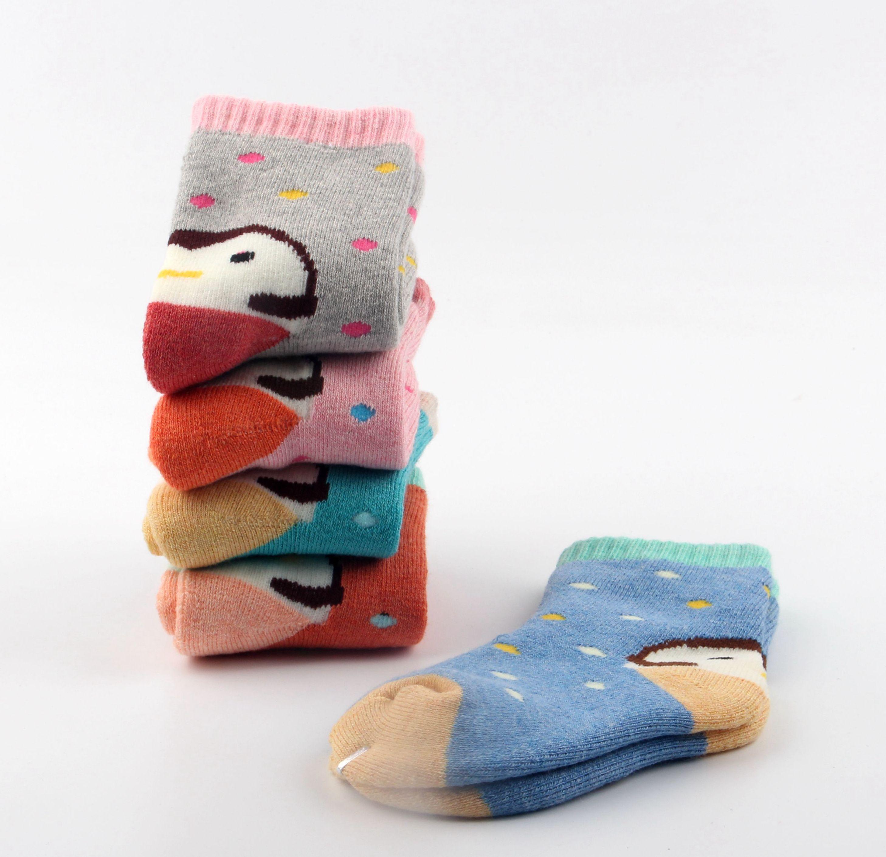 儿童袜子纯棉秋冬加厚加绒保暖毛圈袜7-9岁男孩中筒女孩3-5岁冬季