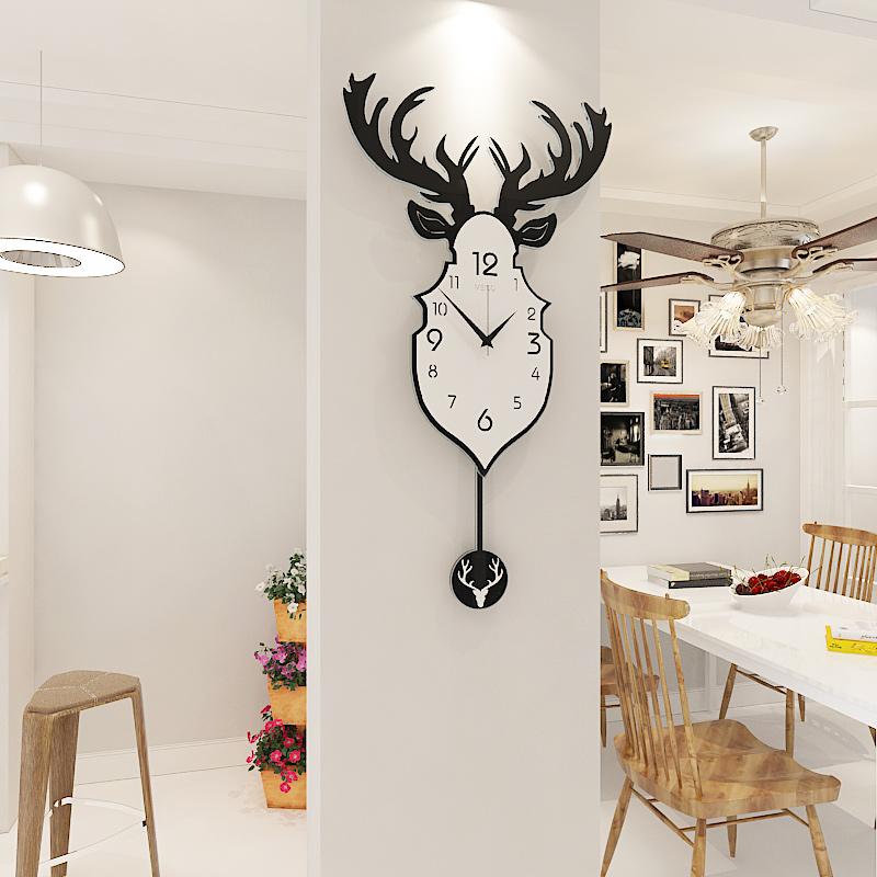 创意个性挂表北欧鹿头挂钟客厅现代简约大气餐厅时钟静音石英钟表