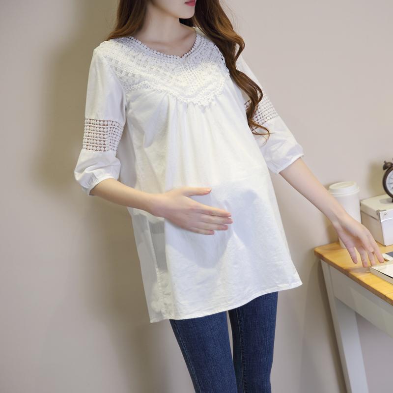 孕妇T恤春装2019新款韩版夏装七分袖中长款蕾丝白色体恤宽松上衣