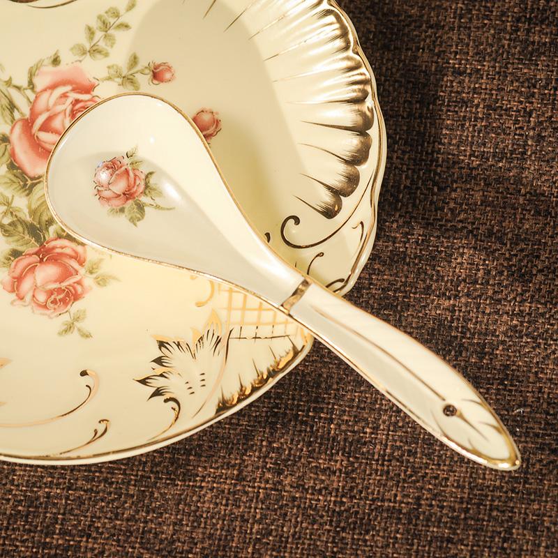 欧式勺子陶瓷餐具家用浮雕小汤勺手工描金韩式酒店调羹吃饭勺汤匙