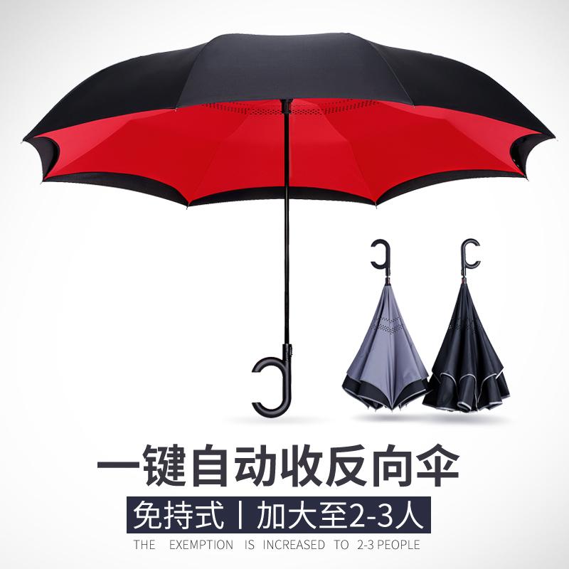 双层加固雨伞男女大号双人全自动车载车用超大长柄反向伞定制广告