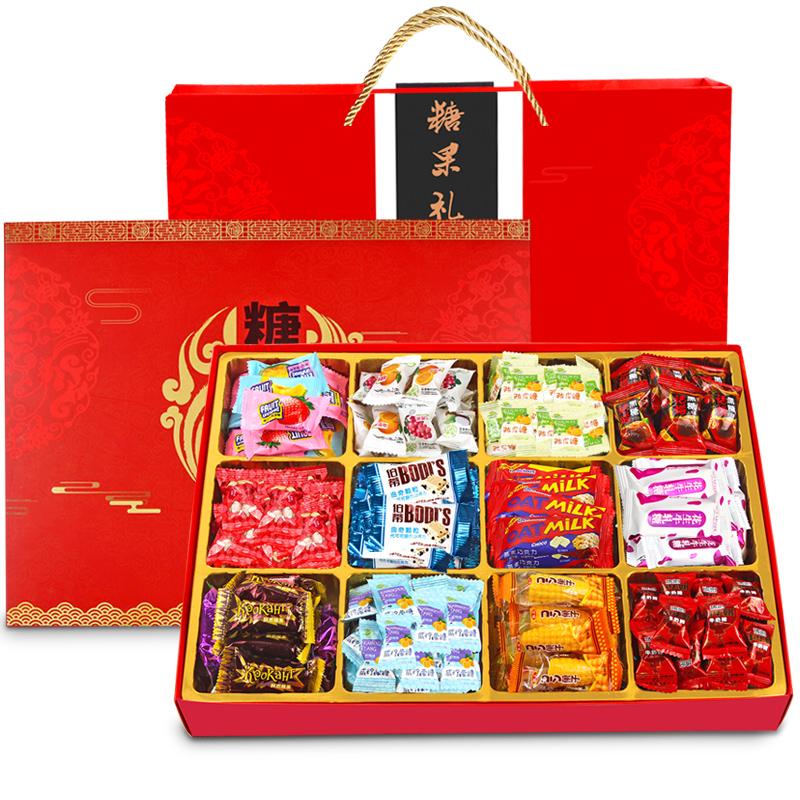 年货节大礼包零食糖果礼盒牛轧糖玉米糖软糖陈皮糖多种口味组合装
