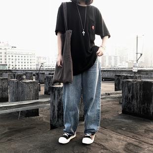 ICEREVERIE 直筒牛仔裤 男女宽松休闲嘻哈复古街头潮流牛仔休闲裤