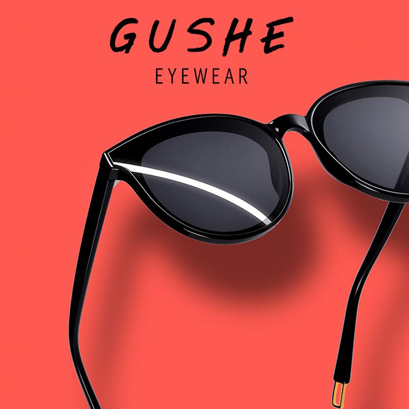 古奢GM太阳镜女士潮新款防紫外线大框眼镜时尚墨镜圆脸2020偏光