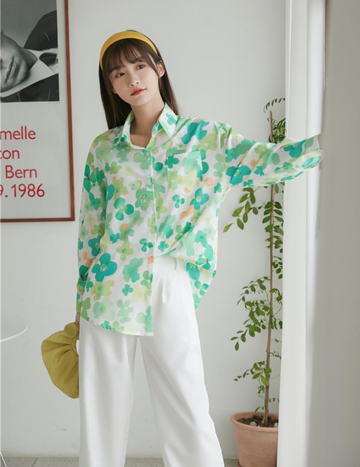 品味爆A小荷尖尖角印花衬衫女酷女孩设计感衬衣-奕韩-