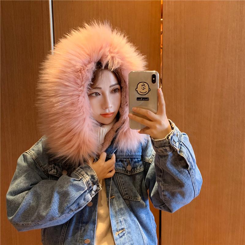 实拍实价大毛领加绒牛仔外套女冬季新款韩版宽松加厚棉服羊羔毛潮-ORHYY小姐服饰-