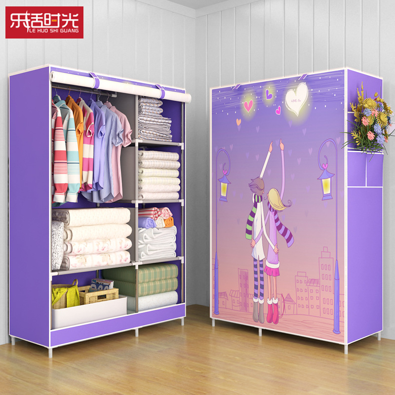 简易衣柜布艺钢架组装收纳衣橱防尘折叠储物柜宿舍卧室居家布衣柜