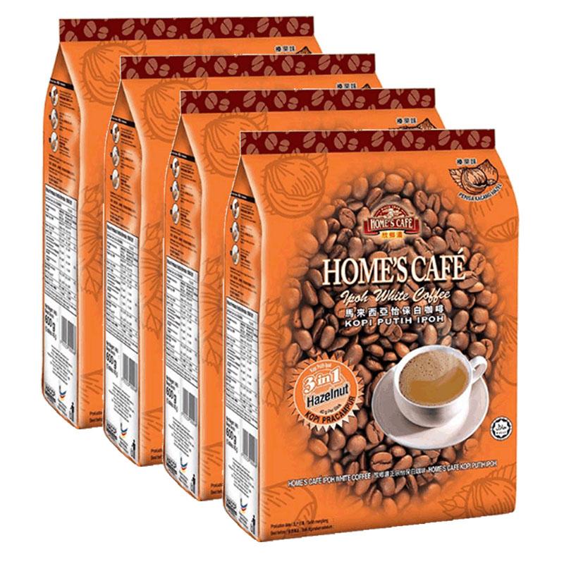 马来西亚进口 故乡浓怡保怡宝 速溶白咖啡榛果味600g*4袋装