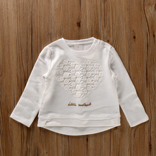 老师要的白色上pr4 童装秋er儿童卫衣 蕾丝贴布上衣 80-110码