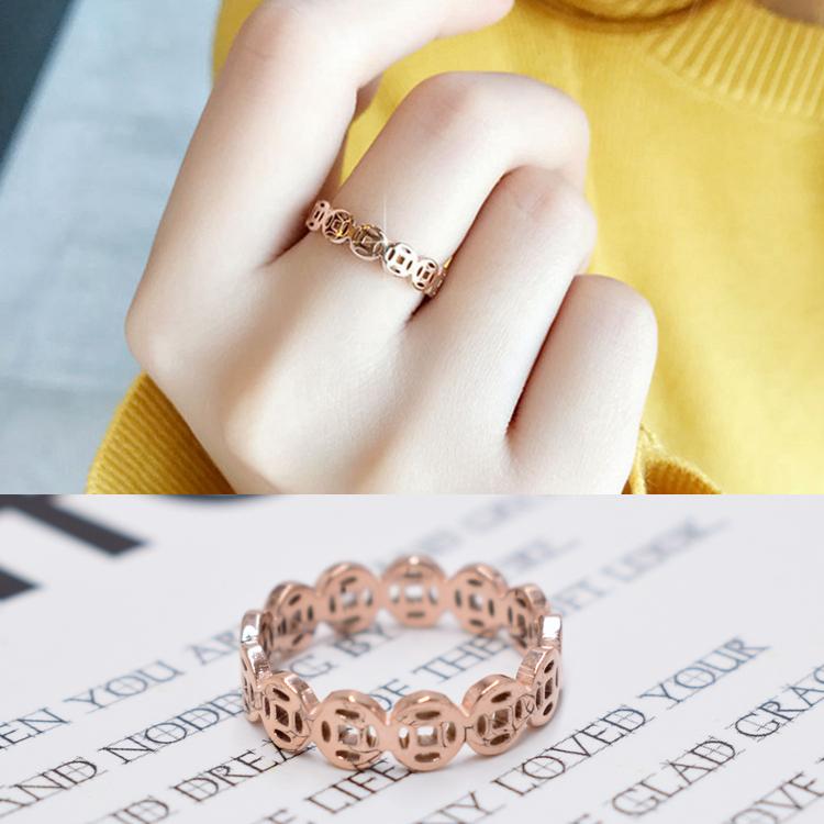 日韩钛钢不褪色铜钱缕空戒 食指指环潮人学生招财18k玫瑰金尾戒指