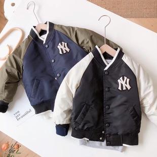洋基队棒球服儿童夹克棉外套男童装女童亲子全家装加厚秋冬款新款图片