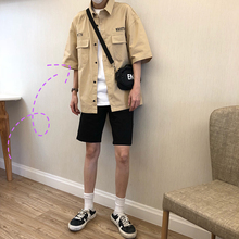 林弯弯les帅gz4夏季阿美ng色工装衬衫韩国宽松纯色男衬衣外套