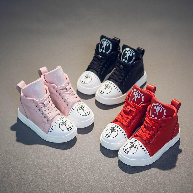 2017新款女童高帮冬鞋儿童板鞋秋冬季鞋子加绒休闲运动二棉鞋韩版