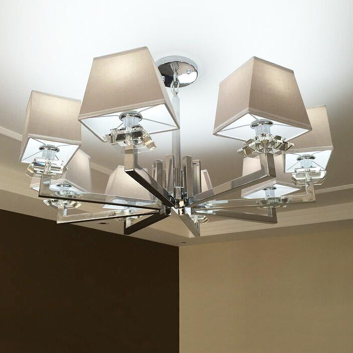 后现代简约客厅水晶吊灯 卧室餐厅样板间LED灯 设计师吊灯8头浅灰-纵悦灯饰