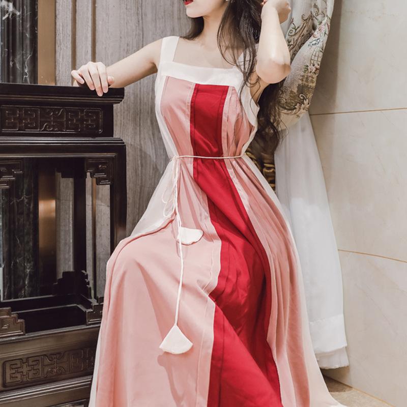 彼得潘大叔芳心之歌粉红暖色系拼色大廓形显瘦吊带连衣裙中长款潮