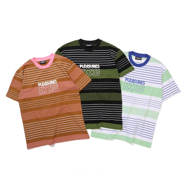 现货 潮玩艺 PLEASURES 19SS Feed Back SS TShirt 条纹短袖T恤