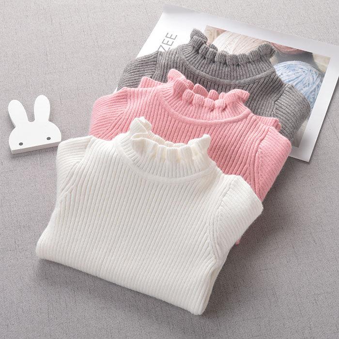 女童毛衣2018新款套头宝宝打底衫1-3岁公主5婴儿白色弹力针织衫