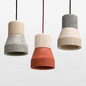 北欧水泥灯餐厅小吊三头灯单头创意个性复古卧室床头实木日式吊灯