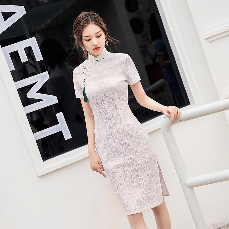 2019新款女旗袍年轻款少女风改良版连衣裙复古中国风气质优雅名媛