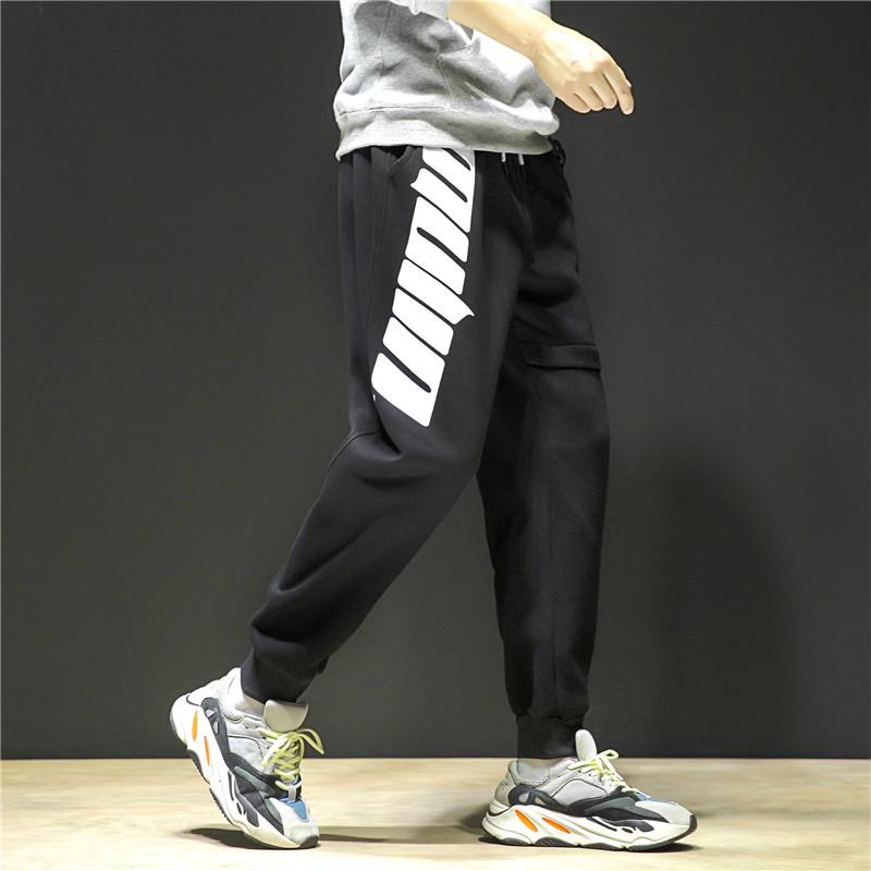 K677-P55     秋冬加绒运动裤男潮宽松束脚直筒休闲卫裤