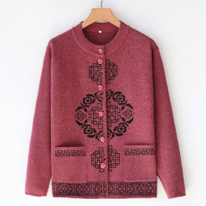 Middle-aged and elderly women's autumn and winter clothing sweater sweater sweater mother's spring old lady grandmother Chinese cardigan sweater