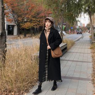 秋冬新款女式毛呢外套韩版中长款过膝双排扣宽松大码加厚呢子大衣