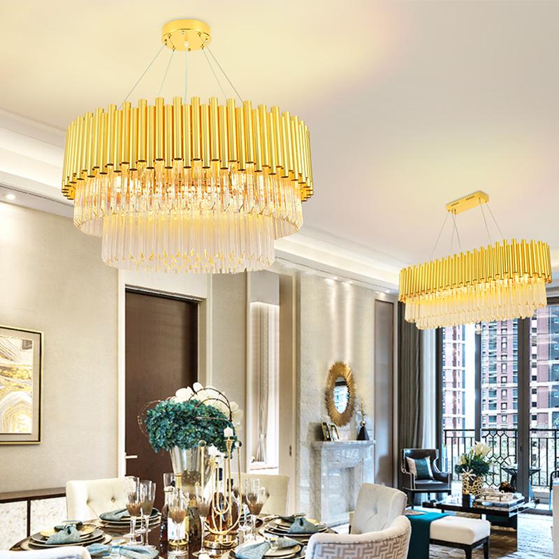 港式水晶吊灯网红后现代简约个性圆形轻奢创意大气家用客厅餐厅灯-帝豪家居灯饰