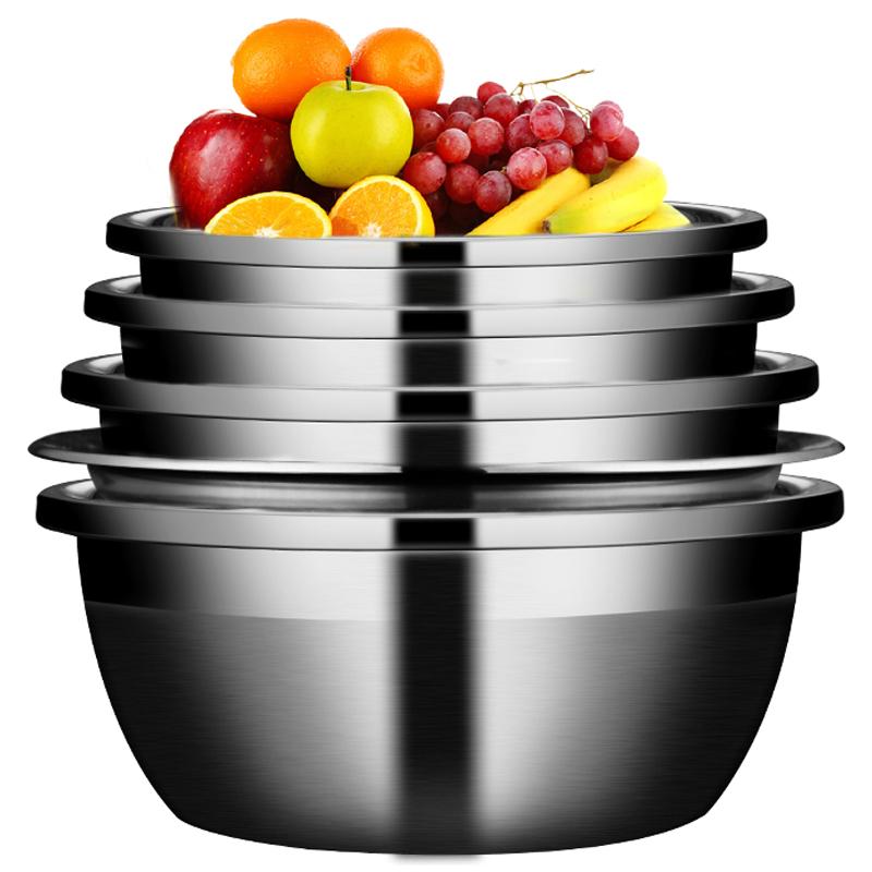 不锈钢 盆子 五件套 家用 厨房 打蛋 洗菜 沥水 淘米 圆形