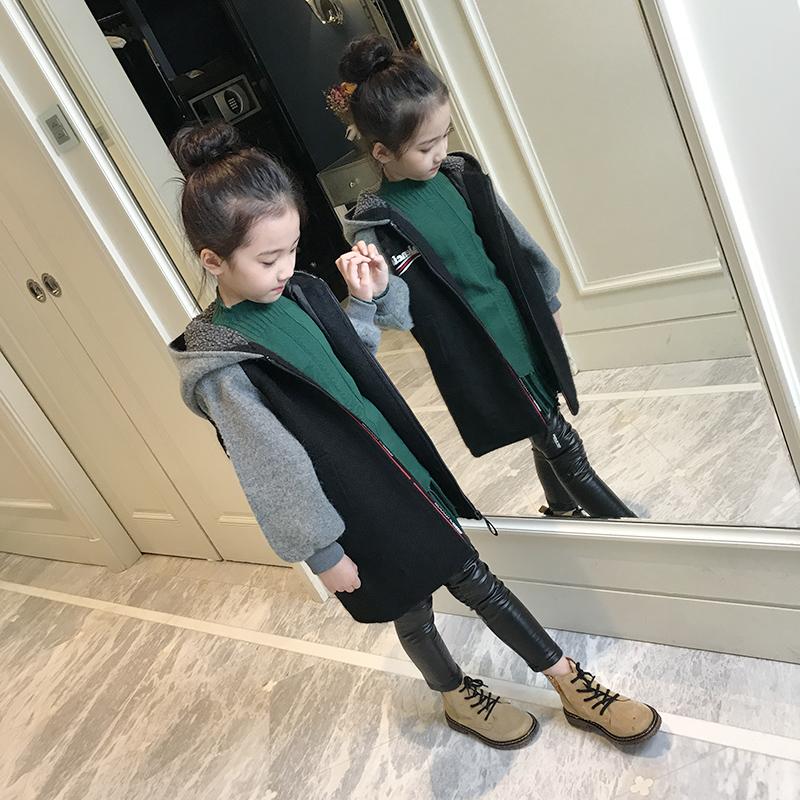 女童外套冬装2017新款呢子大衣韩版洋气中大童毛呢中长款儿童风衣